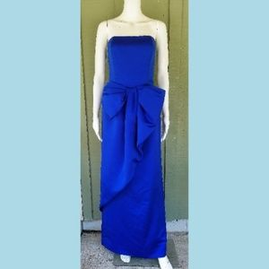 cf2b568c703a VTG VICTOR COSTA Blue Satin Bow Gown Dress 2